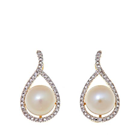 Imperial Pearls 14K 6.5-7mm Pearl and Diamond Earrings