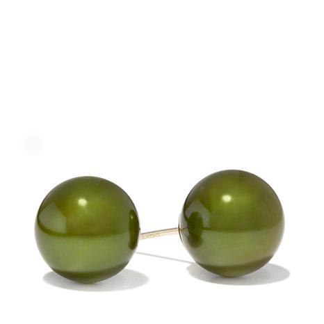 Imperial Pearls 14K 9-10mm Green Cultured Pearl Studs