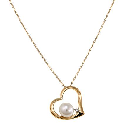 Imperial Pearls 6-6.5mm Cultured Pearl and Diamond 10K Heart Pendant