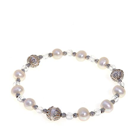 Imperial Pearls 6.5-8mm Pearl and Topaz Bracelet