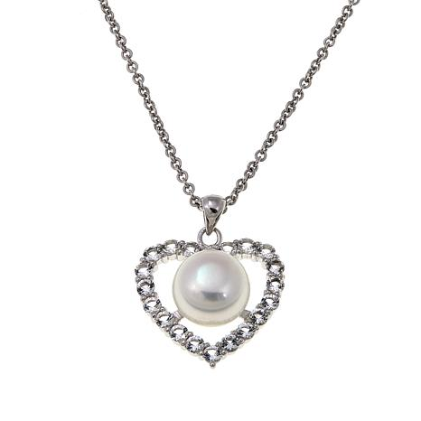 Imperial Pearls 9-10mm Cultured Pearl and White Topaz Heart Pendant