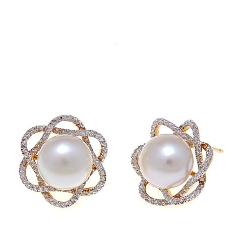 Imperial Pearls 9.5-10mm Cultured Pearl Floral Earrings
