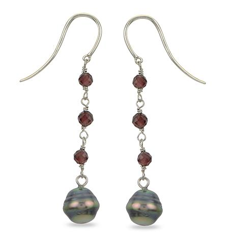 Imperial Pearls Baroque Cultured Tahitian Pearl and Garnet Earrings