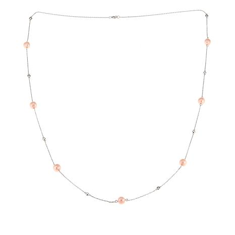 "Imperial Pearls Blush Cultured Pearl and White Topaz 32"" Necklace"