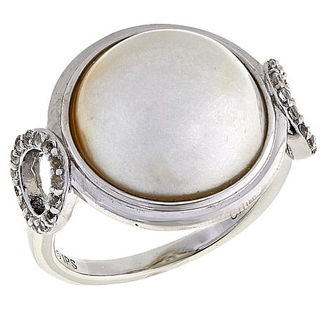 Imperial Pearls Cultured Mabé Pearl and White Topaz Circle Ring
