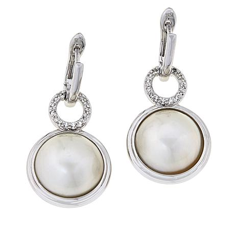 Imperial Pearls Cultured Mabé Pearl and White Topaz Circle Earrings