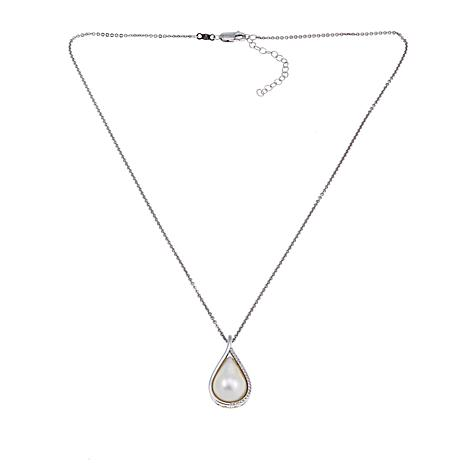 Imperial Pearls Cultured Mabé Pearl and White Topaz Pear Pendant