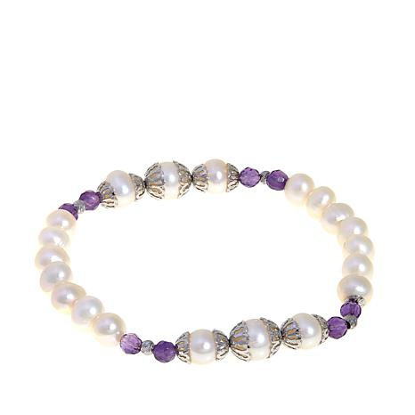 Imperial Pearls Cultured Pearl and Amethyst Bracelet