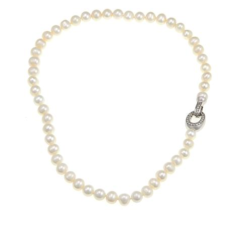Imperial Pearls Cultured Pearl Topaz Clasp Necklace