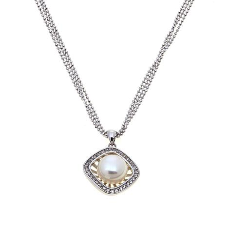 Imperial Pearls Pearl and White Topaz Halo Pendant