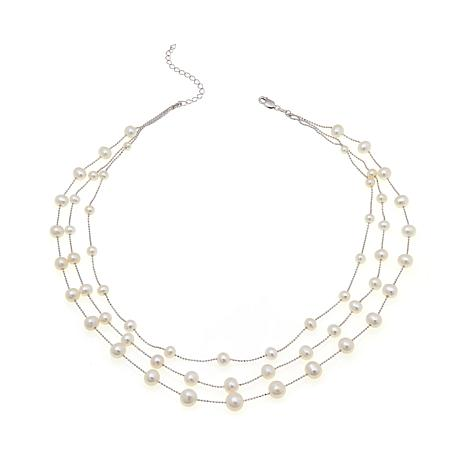 Imperial Pearls White Cultured Pearl 3-Row Necklace