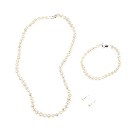 Imperial Pearls White Cultured Pearl 3pc Jewelry Set