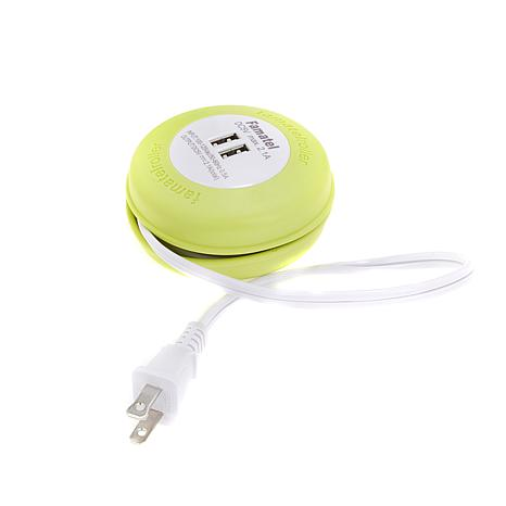 Improvements Dual USB Port Extension Cord with Reel