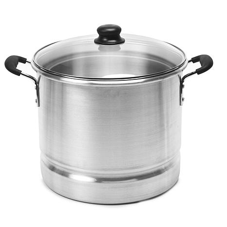 IMUSA 20-Quart Tamale and Seafood Steamer with Glass Lid - Silver
