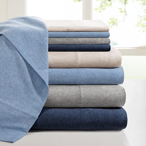 INK+IVY Heathered Cotton Jersey Natural Sheet Set - Queen