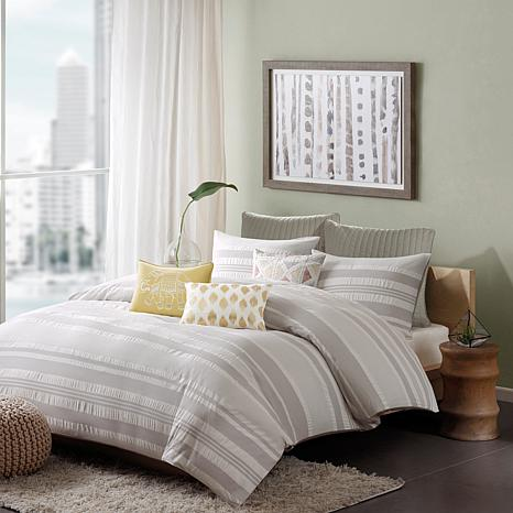 INK+IVY Lakeside Cotton Duvet Cover Mini Set - Grey - Full/Queen