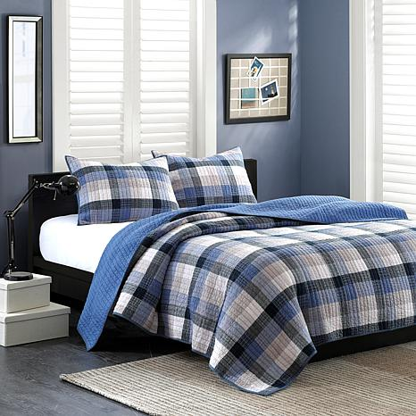 INK+IVY Maddox Cotton Coverlet Set - Blue - King