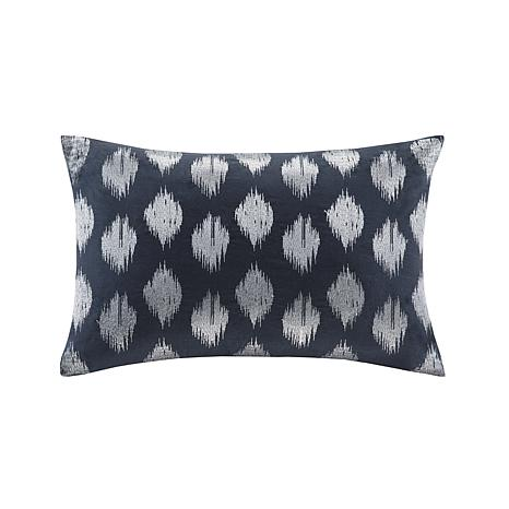 """INK+IVY Nadia Dot Cotton Embroidered Oblong Pillow - Navy - 18"""" x 18"""""""