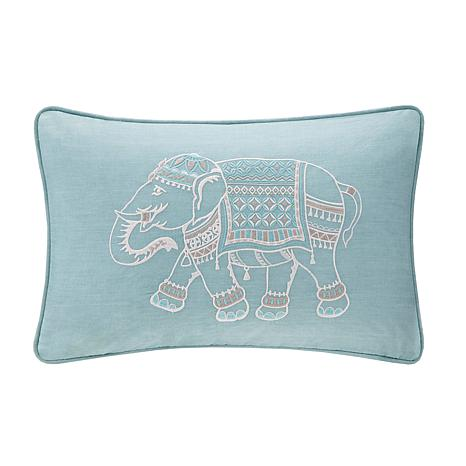 "INK+IVY Zahira Embroidered 12""x18"" Oblong Pillow - Blue"
