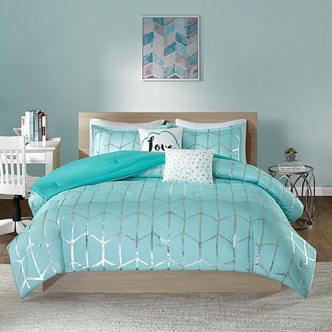 Intelligent Design Raina Aquasilver Metallic Comforter Set Kingcalk