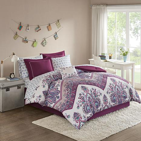 Intelligent Design  Tulay Complete Bed And Sheet Set Purple Twin XL