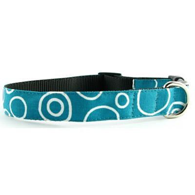 Isabella Cane Dog Collar - Turquoise Circles M