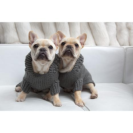 Isabella Cane Doggie Hoodie Sweater - Large/Gray