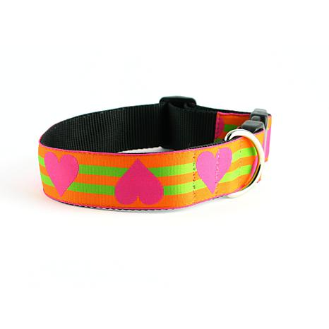 Isabella Cane Wide Hearts Orange and Pink Collar - M