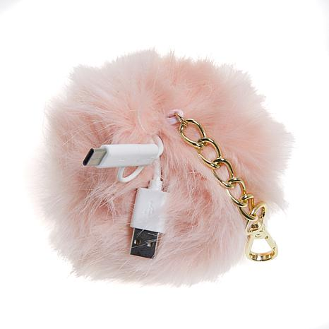 Jade & Deer Faux Fur Pom Portable Charger