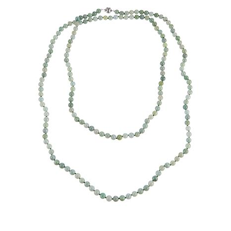 "Jade of Yesteryear 60"" Green Jade Beaded Necklace"