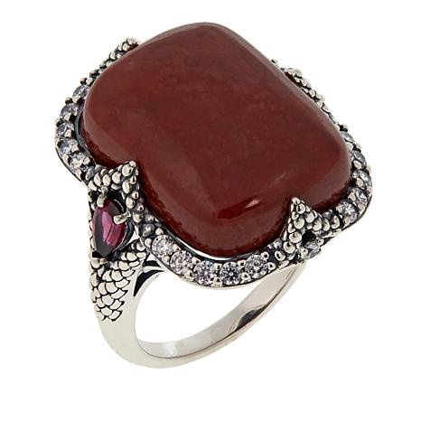 Jade of Yesteryear Cushion-Cut Red Jade, Rhodolite and CZ Ring