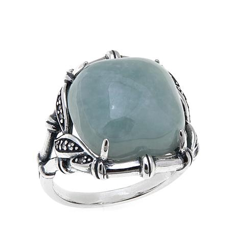 Jade of Yesteryear Cushion-Shaped Jade and CZ Ring
