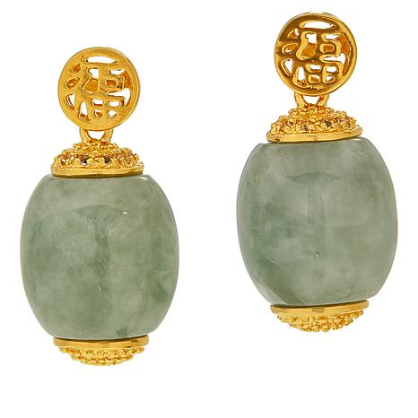 "Jade of Yesteryear ""Glamorous"" Gold-Plated Barrel Drop Earrings"