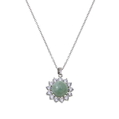 Jade of Yesteryear Green Jade Bead and CZ Sterling Silver Pendant