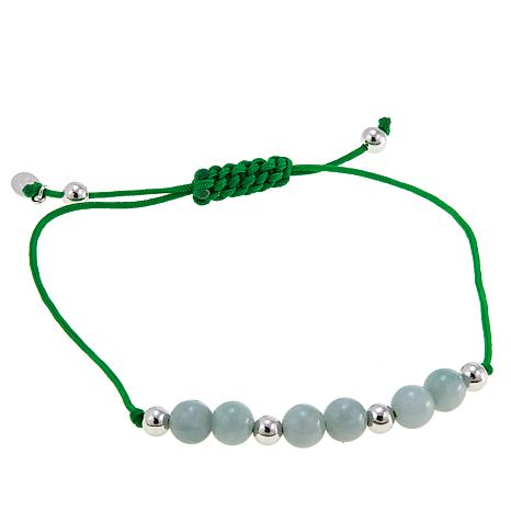 Jade of Yesteryear Green Jade Bead Macrame Bracelet
