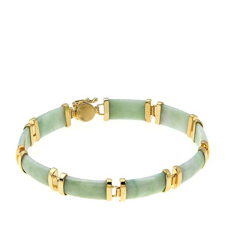 Jade of Yesteryear Green Jade Goldtone Line Bracelet