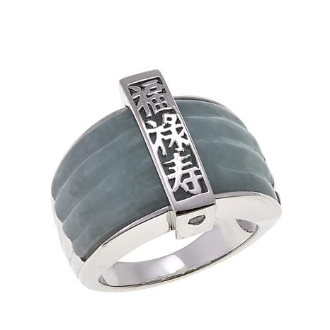 Jade of Yesteryear Green Jade Ring with Vertical Bar Overlay