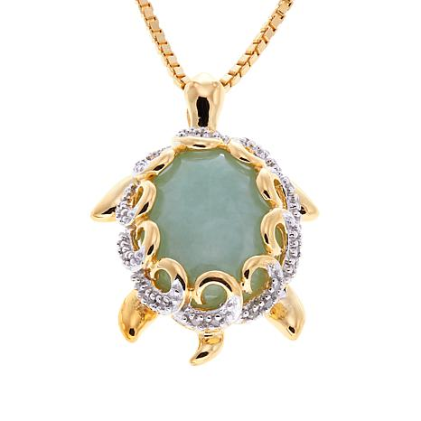 "Jade of Yesteryear Jade and Diamond Turtle Pendant with 18"" Chain"