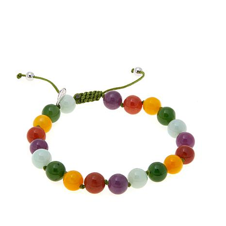Jade of Yesteryear Multicolor Jade Macrame Bracelet