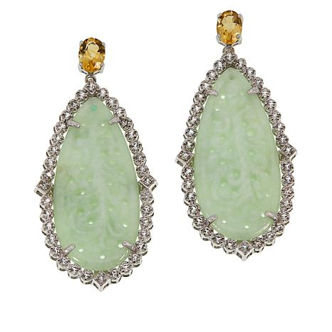 Jade of Yesteryear Nephrite Jade and Multi-Gem Teardrop Earrings