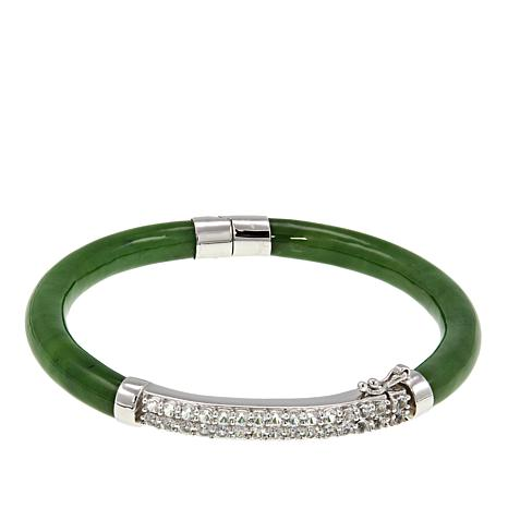 Jade of Yesteryear Nephrite Jade and White Topaz Bangle Bracelet