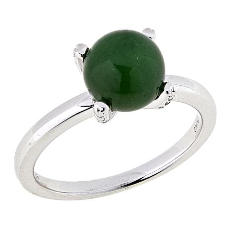 Jade of Yesteryear Nephrite Jade Solitaire Ring with Diamond-Accent