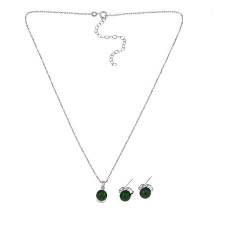 Jade of Yesteryear Nephrite Studs & Pendant Set with Diamond Accents