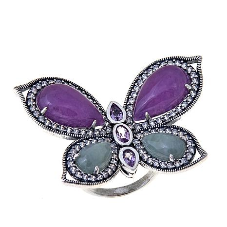 Jade of Yesteryear Purple and Green Jade Butterfly Ring