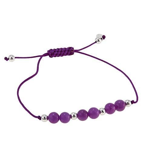 Jade of Yesteryear Purple Jade Bead Macrame Bracelet