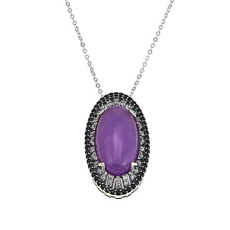 "Jade of Yesteryear Purple Jade, CZ and Spinel Pendant with 18"" Chain"