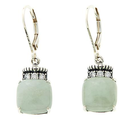 Jade of Yesteryear Square Green Jade Drop Earrings