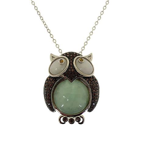 Jade of Yesteryear Sterling Silver Jade Owl Pendant with Chain
