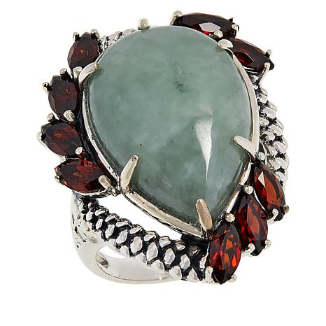 Jade of Yesteryear Sterling Silver Pear-Shaped Jade and Garnet Ring