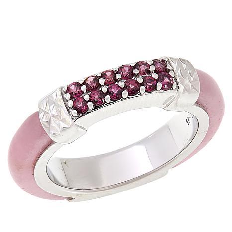 Jade of Yesteryear Sterling Silver Pink Jade and Rhodolite Band Ring